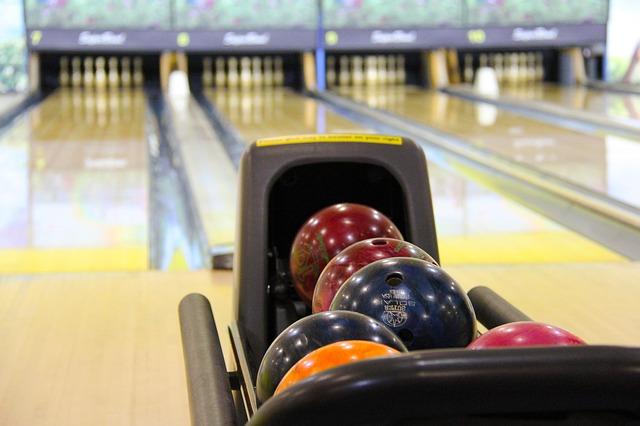 bowling balls at a bowling center
