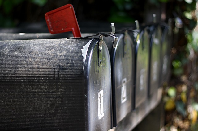 mailboxes with the flags raised