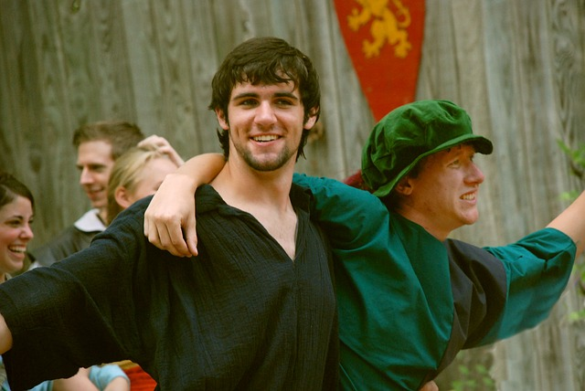 two men in costume at a renaissance fair